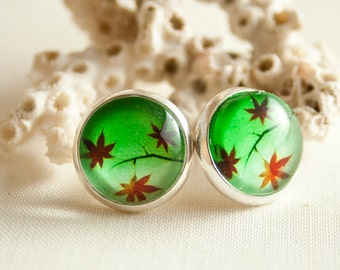 Maple Leafs / stainless steel 12mm earrings / Exclusive for Manga Lovers
