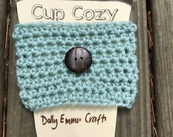 Crochet Reusable Coffee To Go Cup Cozy Sleeve with Coconut Button, Teacher Gift, Mothers Day Gift