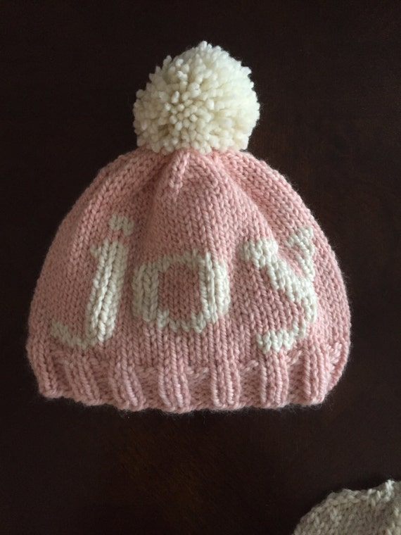Hand knit JOY hat with pom pom - 100% merino wool