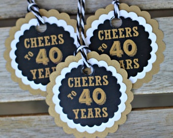 40TH BIRTHDAY FAVOR Tags Cheers To 40 Years Masculine Birthday Milestone Party