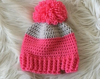 Ready to ship//baby winter hat, Pom pom winter hat, pink hat toboggan, baby knit hat, modern knittted hat, beanie with a pom pom, crochet