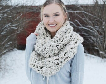chunky scarf, long scarf, extra long cowl, lacy textured scarf, the colt and filly scarf // The St. Clair