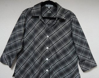 """Foxcroft 48"""" Bust Womens 14W Black + White 3/4 Sleeves Button Down Wrinkle Free Blouse Shirt"""