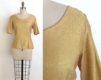 vintage 1950s top | 50s sparkly gold lurex blouse