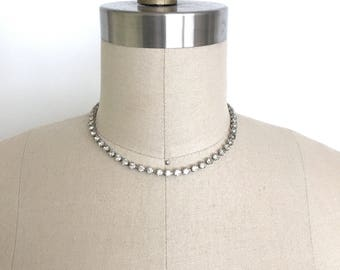vintage 1950s necklace | 50s Jay Flex sterling silver rhinestone necklace