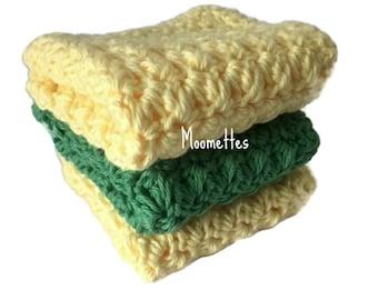 Handmade Dish Cloths Green Pale Yellow Green Wash Cloths Crochet Kitchen Dishcloths Set of 3 Eco Friendly Cotton