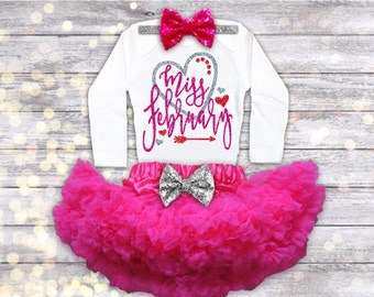 Miss February Birthday Outfit, Valentineu0027s Day Birthday Outfit, Baby  Valentines Day Outfit, Valentines