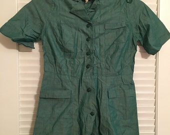 Vintage Official Girl Scout Dress/Green/Original Buttons/Original Patch