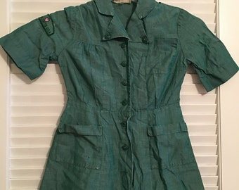 Vintage Official Girl Scout Dress/Original Patch/Original Buttons