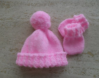 Instant Download Knitting Pattern Baby Girl Hat & Mittens  - Quick Easy Makes Three Sizes