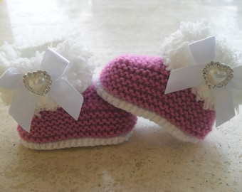 Knitted Baby Girl Fur Booties, Baby Girl Booties, Baby GIrl Boots,  Baby Girl Fur Boots   - Size 3 to 6 Months Ready Made