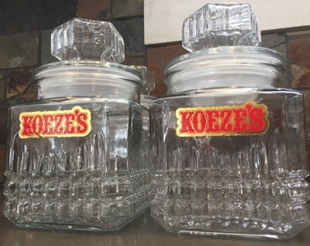 Set of 5 Vintage KOEZE'S Drugstore Glass Apothecary/Candy Jar/Canisters w/ Lids