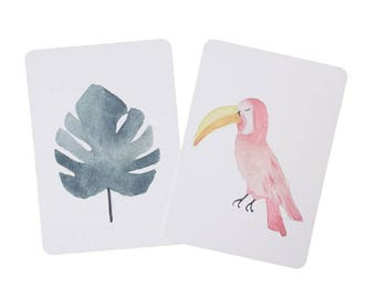 Set of TWO Watercolor Toucan Monstera leaf Postcards - stationery - Tropical - Exotic
