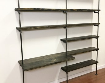 Industrial Desk - Pipe shelving unit with desk - Home office furniture - Shelving unit - Industrial Office shelves - Home Office shelving