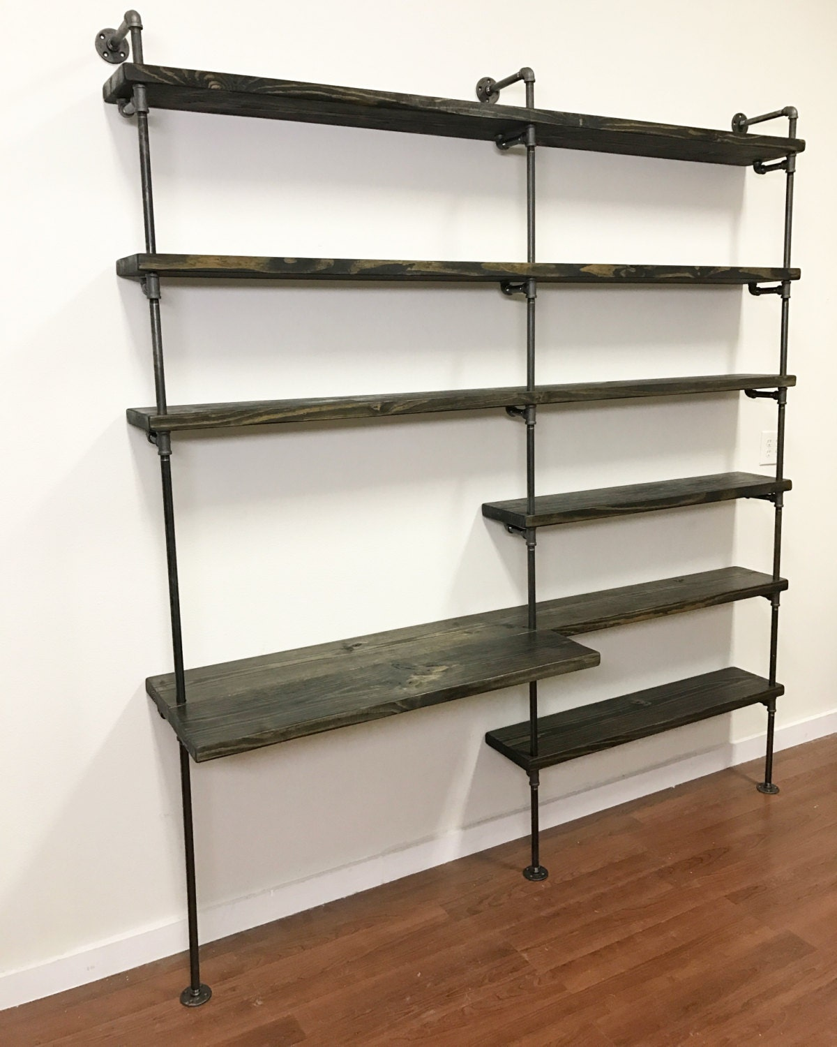 industrial desk pipe shelving unit with desk home office. Black Bedroom Furniture Sets. Home Design Ideas