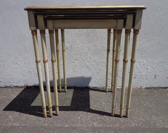3 Nesting Tables Vintage Hollywood Regency Neoclassical Italian Accent Side End Wood Baroque Shabby Chic Vintage Cabriole Nightstand Antique