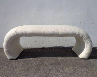 Karl Springer Waterfall Bench Bed Vintage Mid Century Modern Vanity Seating Hollywood Regency Seating Bedroom Upholstered Chair Chic Dining
