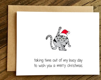 Funny Christmas Card - Cat Christmas - Christmas Card - Holiday Card - Taking Time Out.
