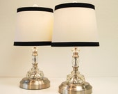 Set of 2 Small Antique Glass Lamps - CORDLESS - Pair of Vintage Molded Glass Lamps