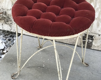 Vintage Vanity Chair W/Red Velour Tufted Seat U0026 White Metal~Red Vanity Chair