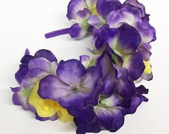 Yellow Rose and Purple Hydrangea Children's Headband