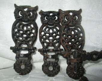 Vintage Cast Iron Owl Hooks with Swivel Arms, Set of 3