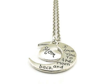 I Love You to the Moon and Back Mom Necklace, Moon Necklace, Mom Necklace