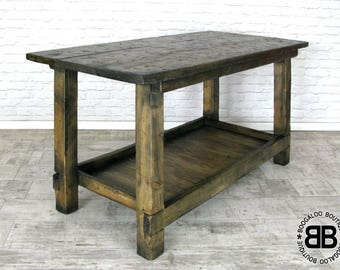 Rustic Wooden Vintage Style Workbench Industrial Kitchen Island Unit Food Safe