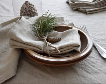 Large square linen tablecloth for dining or kitchen table serving- Daily table linens