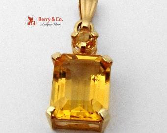 Two Stone Citrine Pendant 14K Gold