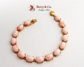 Angel Skin Coral Tennis Bracelet 14K Yellow Gold