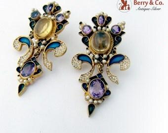 Ornate Large Earrings Amethyst Citrine Seed Pearls Enamel Gilt Sterling Silver