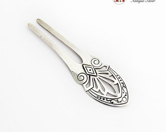 Damaso Gallegos Cut Work Design Two Prong Hair Pin Sterling Silver