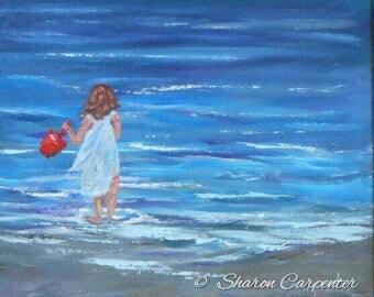 Ocean Beach kids Whimsical Canvas Oil Painting