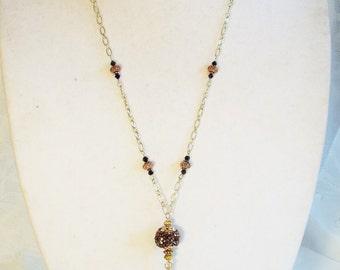 "Cynthia Lynn ""WILDFIRE"" Gold Tone Black Copper Crystal Beaded Tassel Necklace"