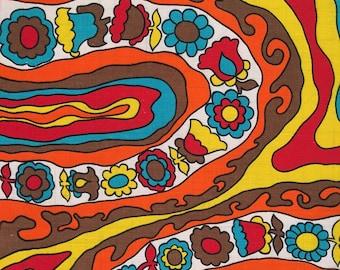 Vintage Psychedelic flower print linen tea towel