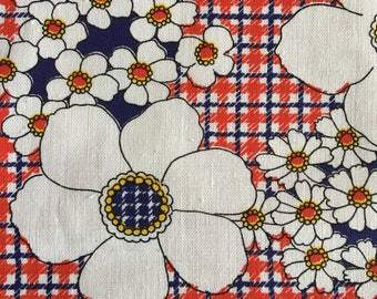 Vintage flower power cotton fabric red white and blue