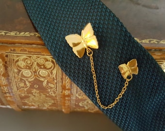 Vintage Gold Duo Butterfly Tie Pin Tack Lapel Pin