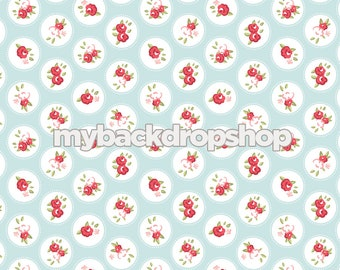7ft x 7ft Baby Blue and White Flower Backdrop - Blue and White Dot Prop for Photos - Vinyl Photo Backdrop - White Dot Drop - Item 3163