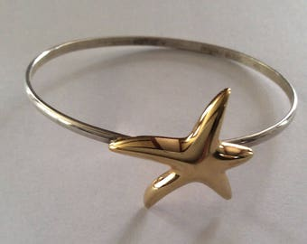 Sterling Silver Vintage Bracelet With Gold Starfish Hogan and Bolas