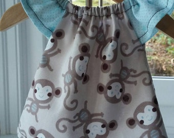 Cotton Dress Waldorf Fits 10 Inch Doll - Silly Monkeys Blue Sleeve