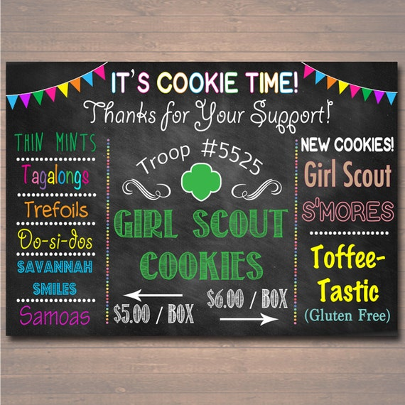 custom girl scouts cookie booth sign digital file girl