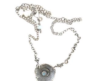 Labadorite Rose Cut Gemstone and Sterling Silver Necklace. Handmade Silver Jewelry to order by susan Wachler metal dance jewelry. Atlanta, G