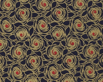 Metallic Fabric by the Yard, Art Deco, Quilting, Floral, Cotton, Gold, Red, Navy, Glam, Charleston, Glamour, Large Print, Swirl, Decor