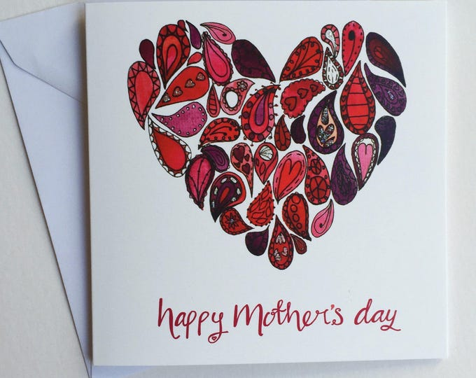 Featured listing image: Mother's Day card - heart Mother's day card - painted Mother's Day card - hand finished Mother's Day card - Paisley love heart