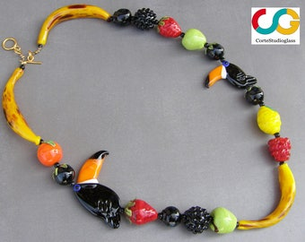 Lampwork necklace-fruit necklace-Toucans'paradise necklace