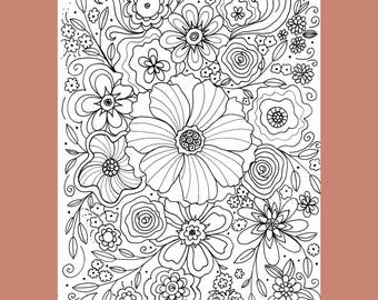 Flower Coloring Page, Abstract Flower Coloring Page, Floral Coloring Page, Adult Coloring Page