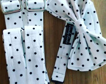 Black and White Polkadot Bowtie and Suspender Set for Men Women or Children