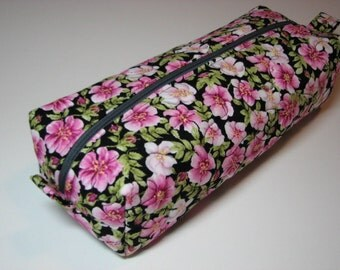 Boxy Zippered Pouch, Quilted Project Bag, Cosmetics Bag, Pencil Case, Elegant Pink Floral Pouch, Quiltsy Handmade