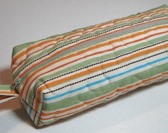 Boxy Zippered Pouch, Quilted Project Bag, Cosmetics Bag, Pencil Case, Green and Orange Modern Stripe, Quiltsy Handmade